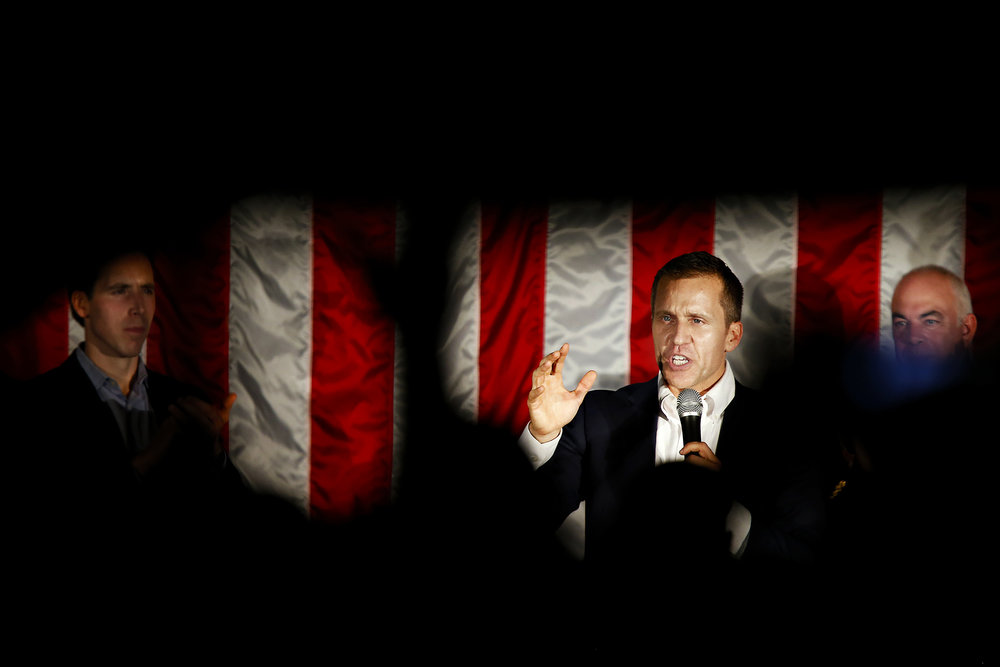 Republican candidate for Missouri Governor Eric Greitens speaks to a crowd attending a rally in favor of statewide Republican candidates held at National Safety Compliance in Springfield, Mo. on Nov. 2, 2016