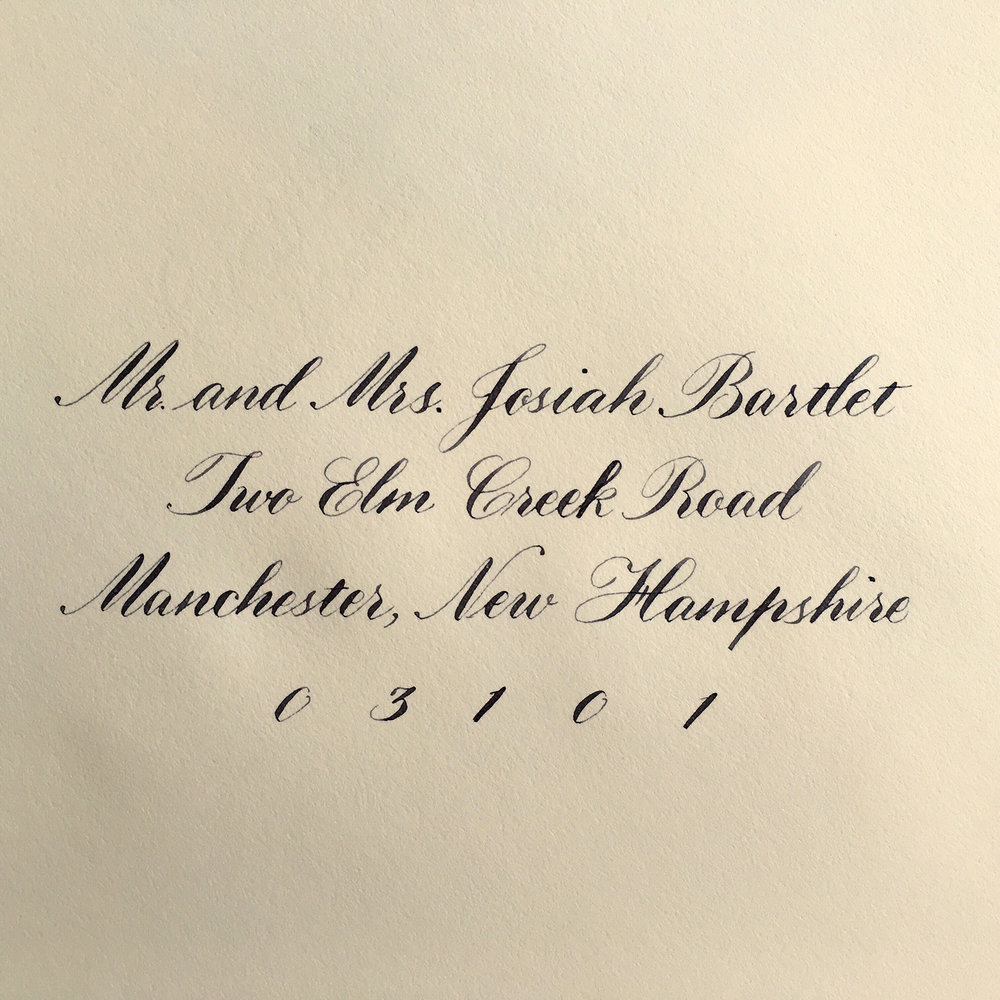 Envelope addressed in a simplified interpretation of Copperplate.