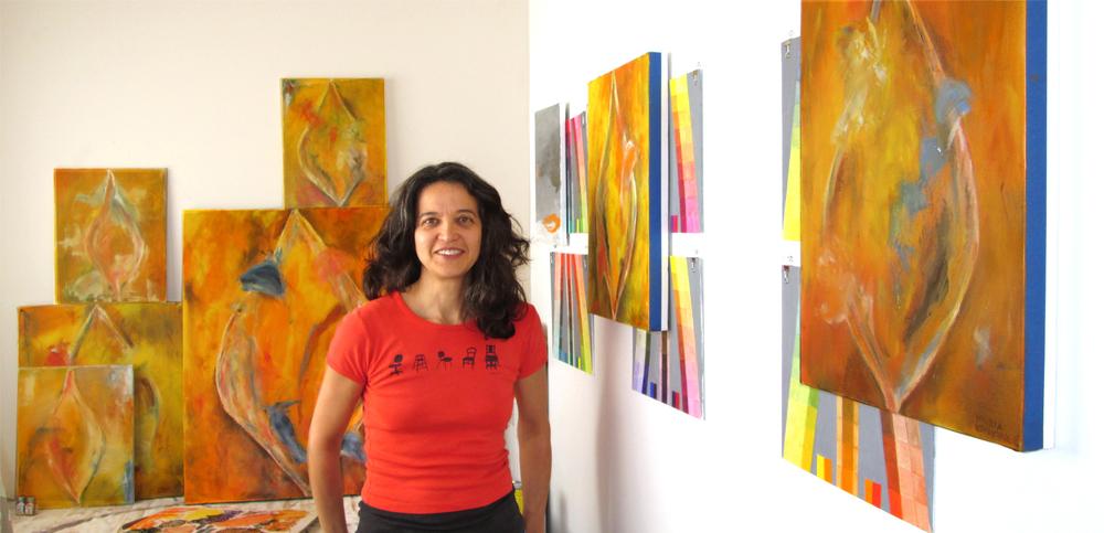 Maria in her studio in Los Angeles