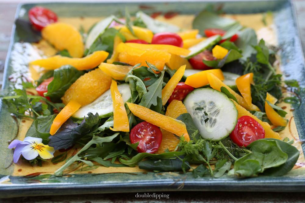 Summer Salad Rucola Cucumber Tomato
