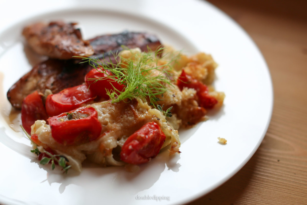 Crumble of Fennel and Cherry Tomato by Ottolenghi