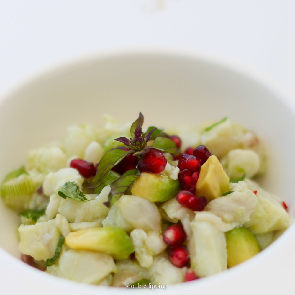 Ceviche avocado pomegranate healthy salad