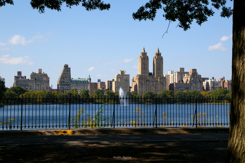 Central Park at the Jaquelin Kennedy Reservoir seen from East to West