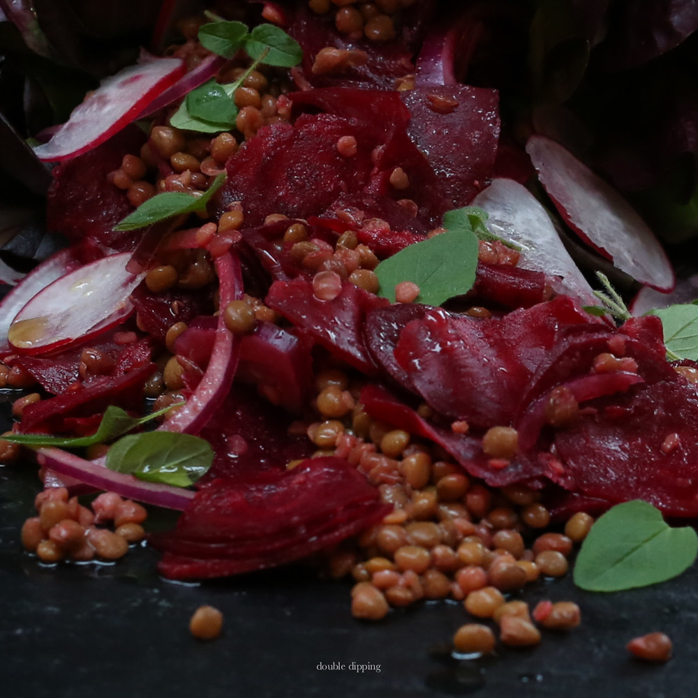 Lentils with red beets