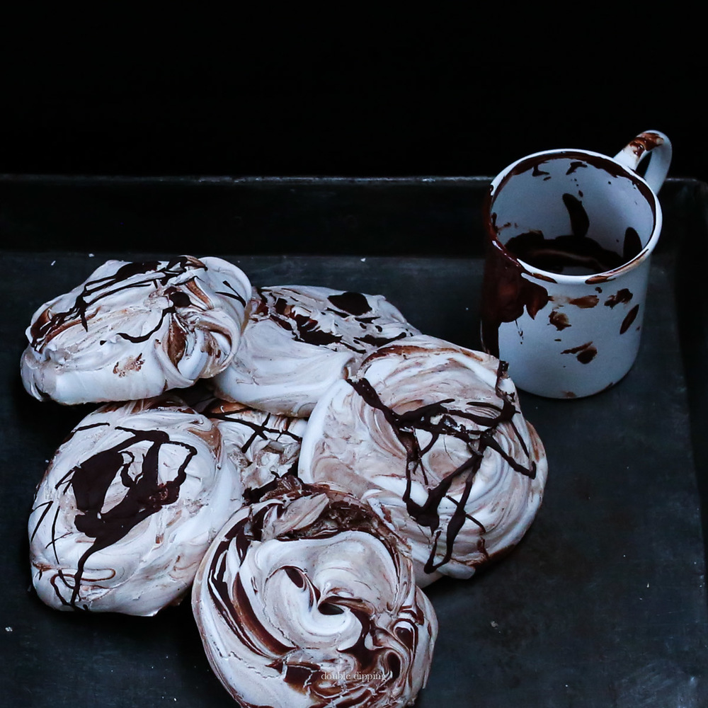 Meringue with chocolate swirl