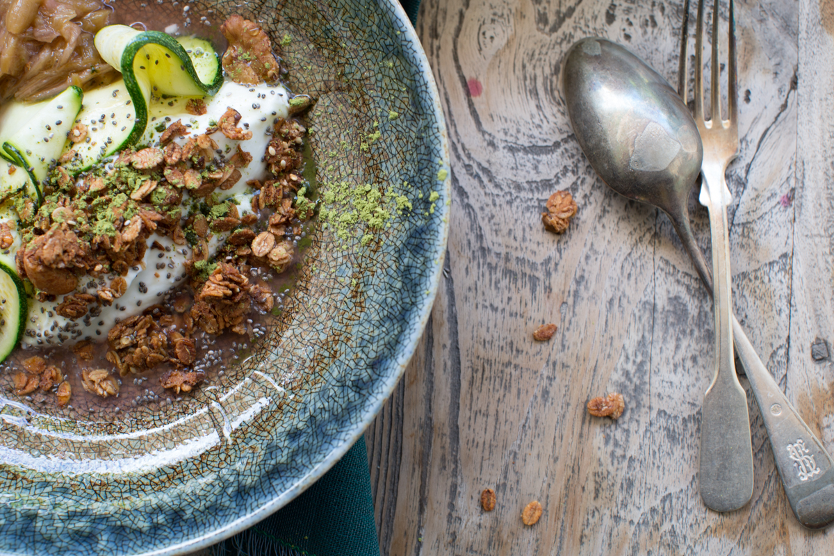 Granola With Rhubarb Honeyed Zucchini And Matcha Double Dipping