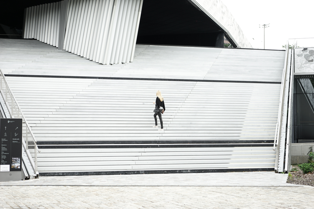 The grand stairs to the Philharmonie de Paris
