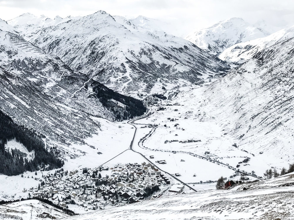 The Glacier Express travels from St. Moritz through Andermatt to Zermatt