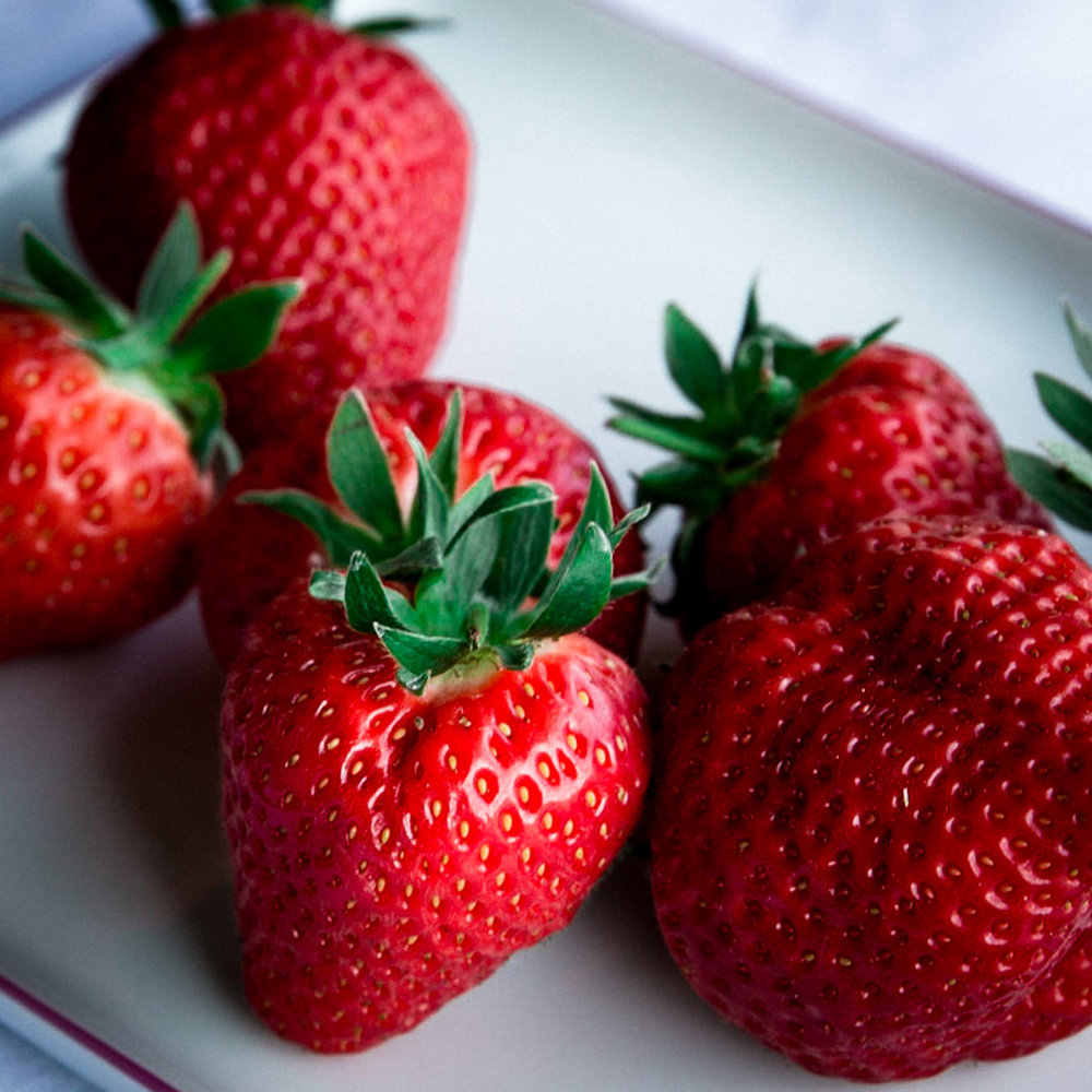 Delicious fresh sweet juicy new strawberries from the Steiermark