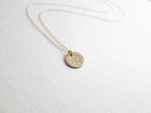 eff340c9b93 Long Gold Hammered Disc Necklace- 1/2