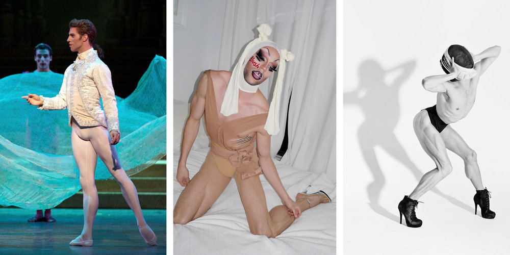"From left, James Whiteside of American Ballet Theater as the Prince in ""Cinderella""; as Uhu Betch, part of the drag troupe the Dairy Queens; and as the singer JbDubs. Credit From left: Rosalie O'Connor; Dan Donigan; Jaqlin Medlock"