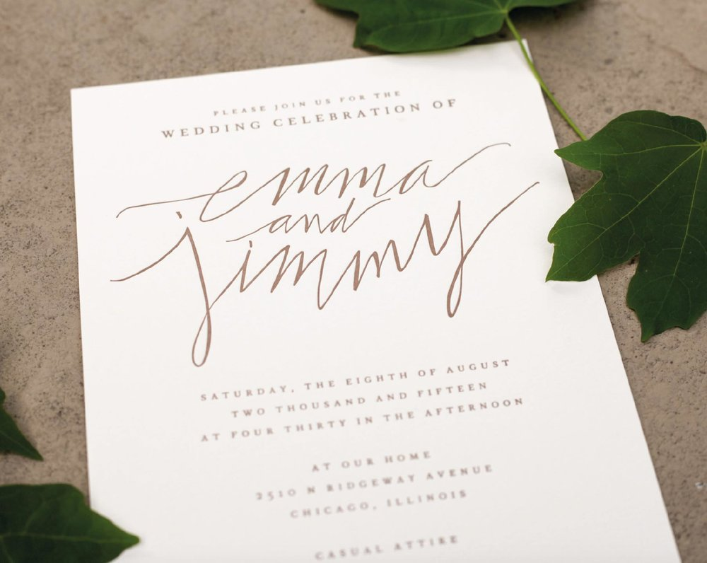 Invitation lettering, design, and print production Pantone 876 on 130lb Colorplan Vellum White
