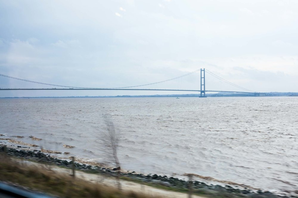 Humber Bridge The world's eighth-longest suspension bridge,seen from the train on the way into Hull from London.