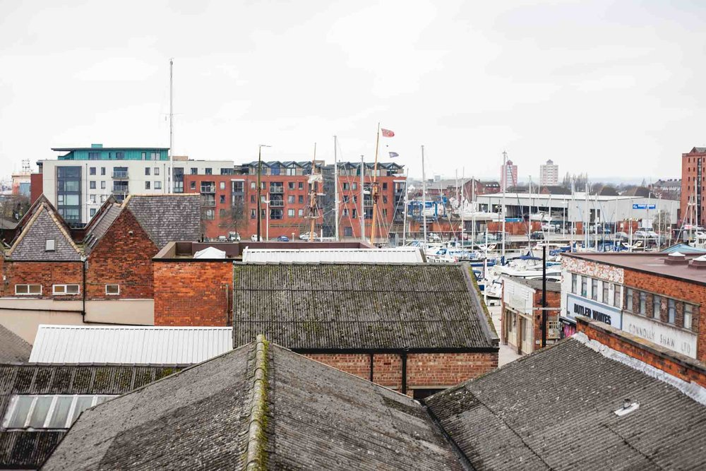 Overlooking Hull from the rooftop deck at Humber Street Gallery