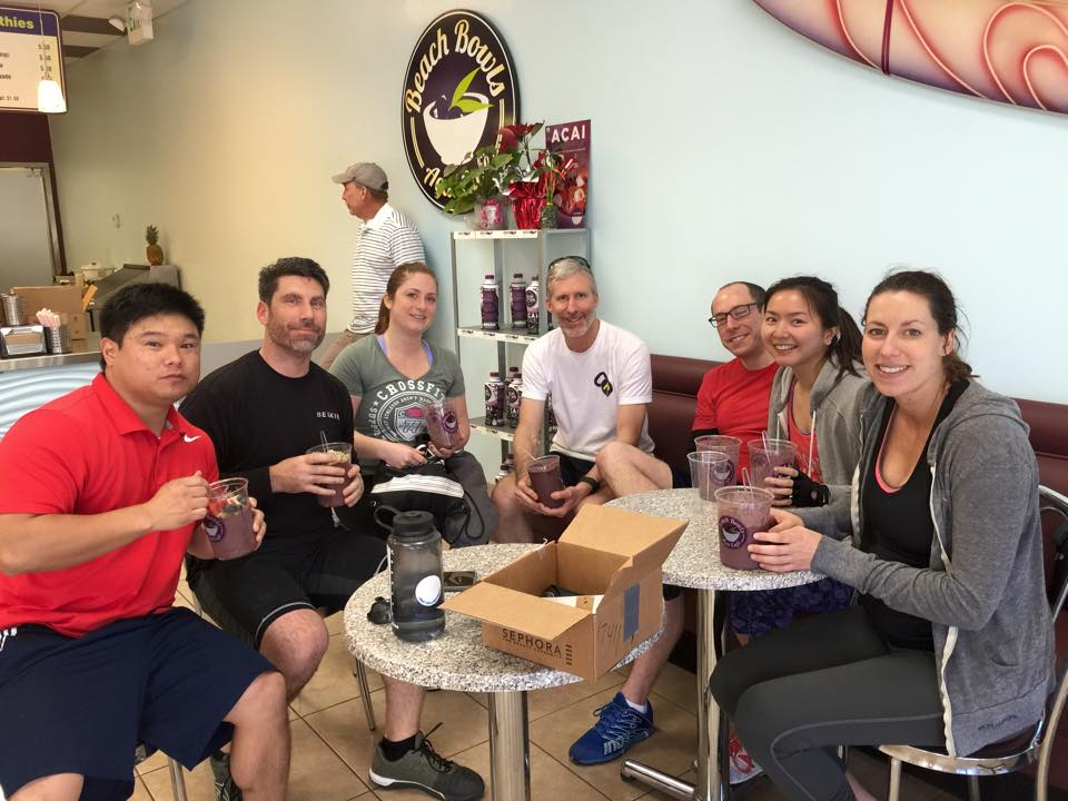 Some of Saturday's class crushing some Acai bowls after the WOD