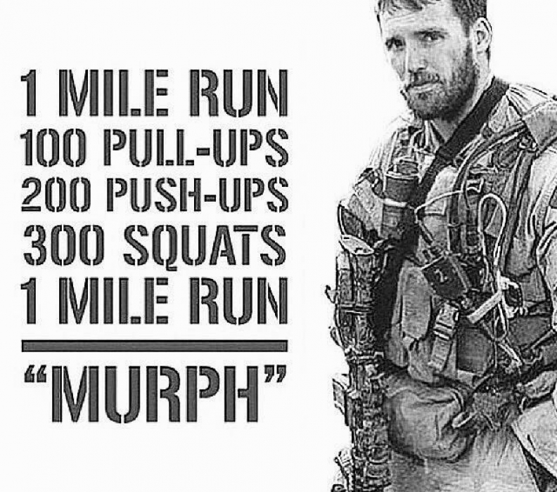 """In memory of Navy Lieutenant Michael Murphy, 29, of Patchogue, N.Y., who was killed in Afghanistan June 28th, 2005.  This workout was one of Mike's favorites and he'd named it """"Body Armor"""". From here on it will be referred to as """"Murph"""" in honor of the focused warrior and great American who wanted nothing more in life than to serve this great country and the beautiful people who make it what it is.  Partition the pull-ups, push-ups, and squats as needed. Start and finish with a mile run. If you've got a twenty pound vest or body armor, wear it."""