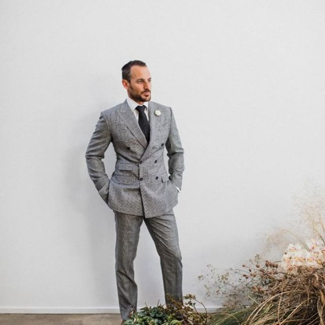 Loro Piana Super 130's cloth made this 6 button double breasted suit. Cut with our classic high sleeve head and 3 1/4 inch wide peak lapels  Featured on @nouba_blog  Gown @harriettegordon  Photography @natasjakremers  Styling @popupplanningco  Flowers @grandiflora_perth  Furniture @orielle_  Hire @sideserveperth  Stationery @nestleandporter  Model @bilbyyyy  Hair & makeup @theprettyparlour  Suits @edward.mccann  Venue @feldandco  Cake @thecakeandi  #men #suit #mensfashion #moda #classy #bespoke #italy #ootd #ootdmen #dapper #gentleman #menswear #dandy #menstyle #sprezzatura #menwithclass #menaccessories #style #menwithstyle #suitandtie