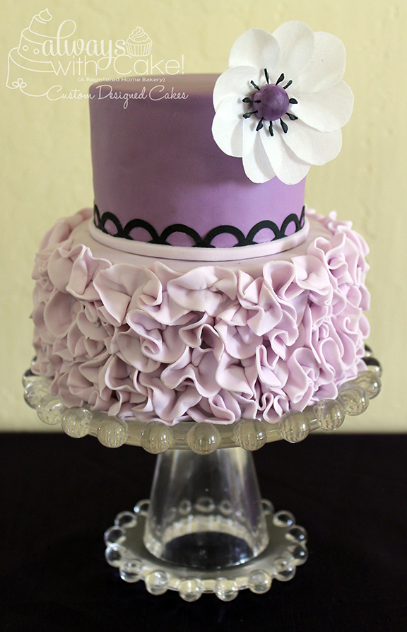 Ruffles and Wafer Paper Flower Mini Cake