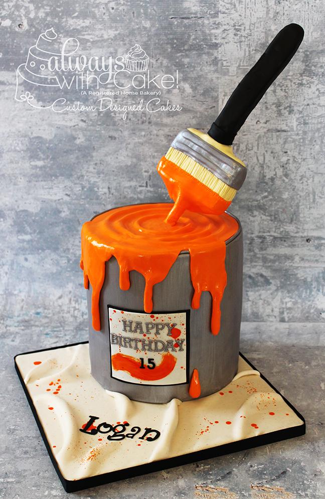 Paint Can & Paint Brush Birthday Cake