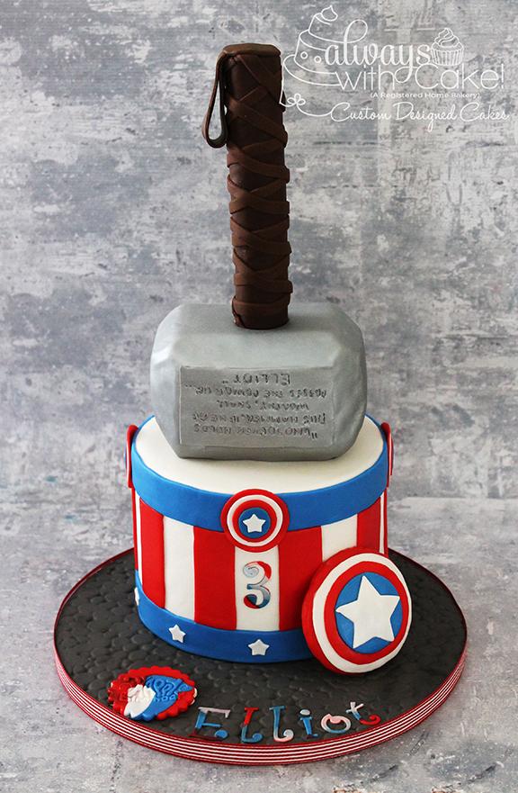 Captain America & Thor Birthday Cake