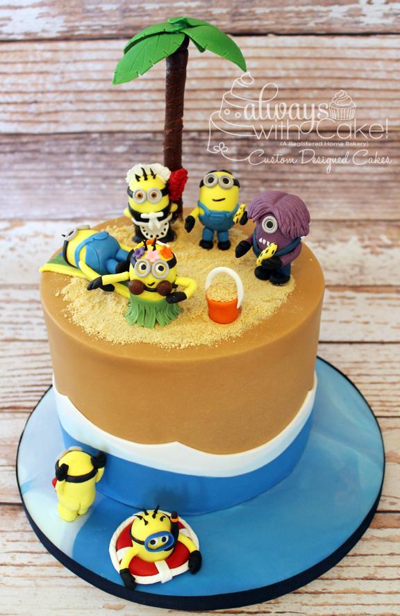 Minion Beach Party Birthday Cake