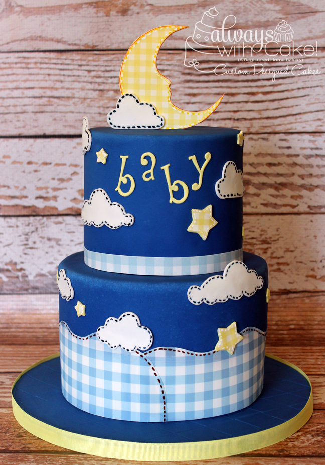 Gingham Baby Shower Cake