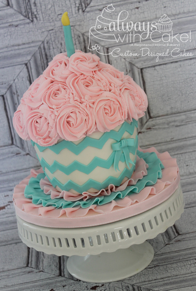 Rosettes And Chevron Giant Cupcake Smash Cake