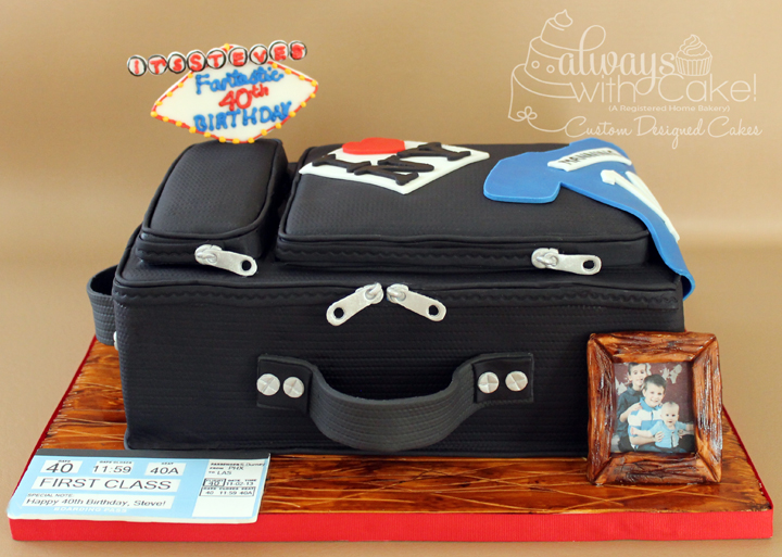 Suitcase 40th Birthday Cake
