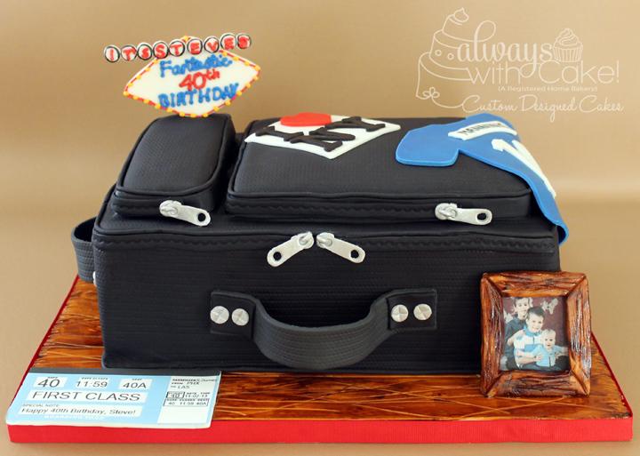 Suitcase 40th Birthday Cake