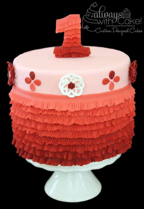 Ombre Ruffles 1st Birthday Cake