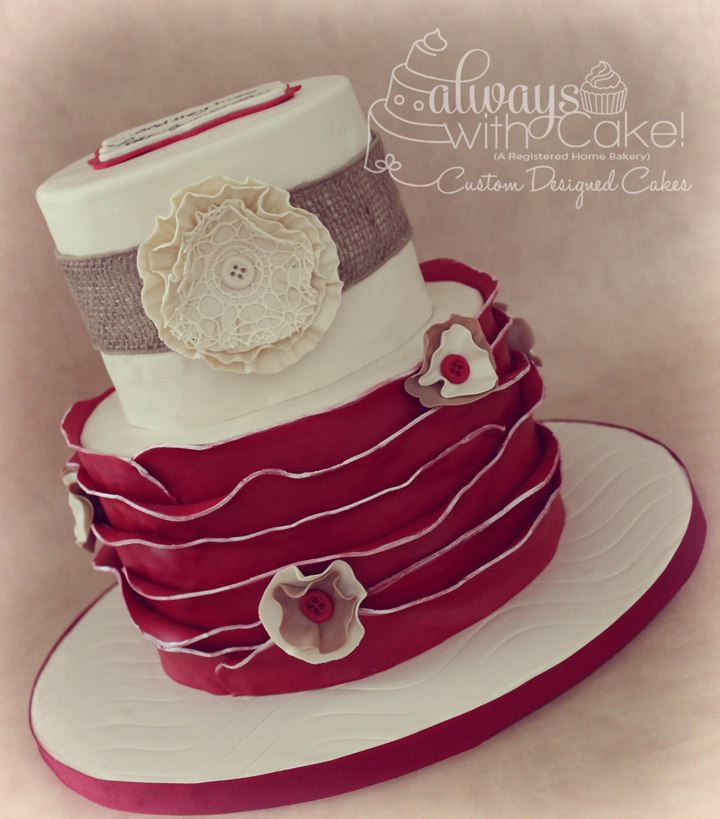 Ruffles & Burlap Bridal Shower Cake