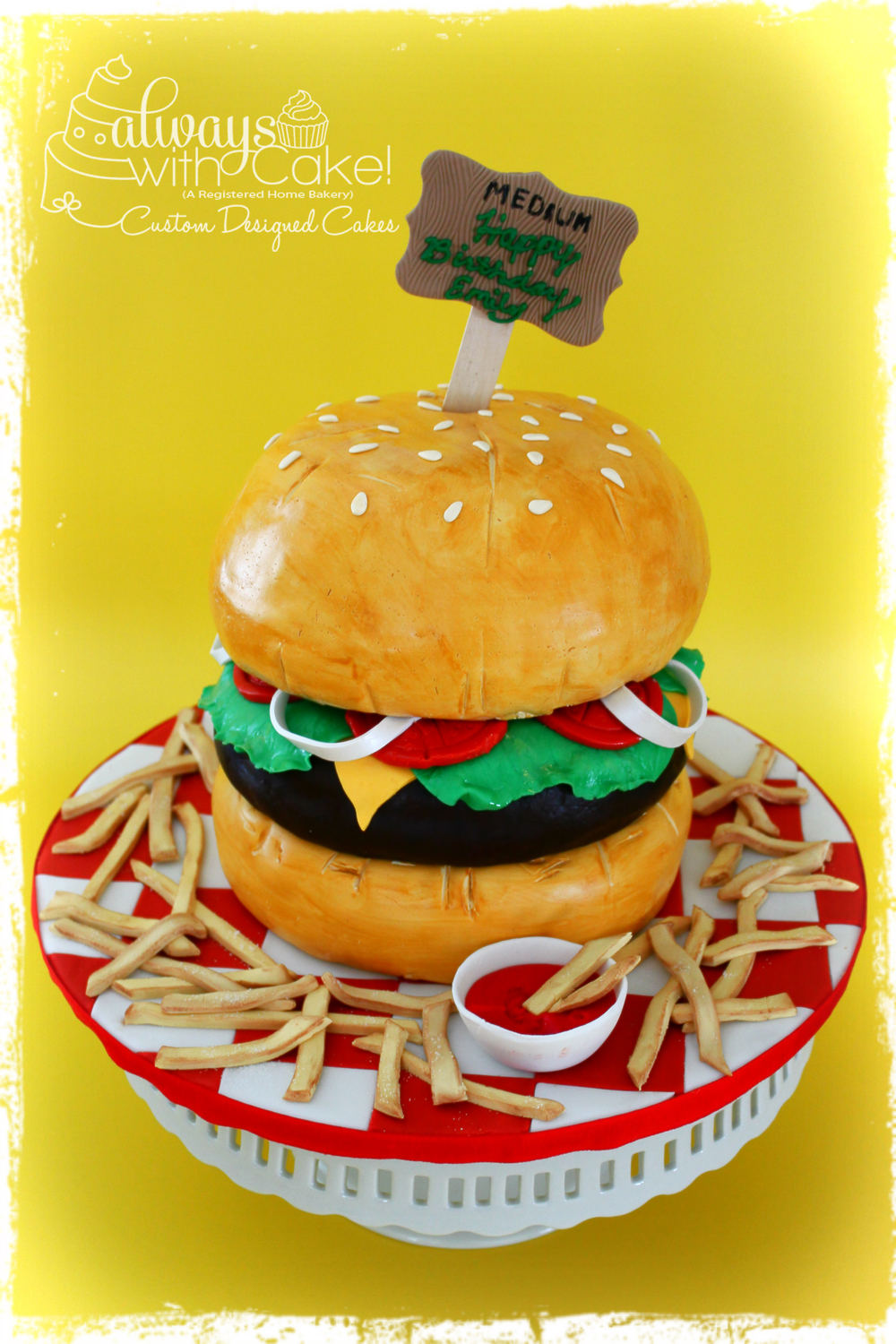 Hamburger and Fries Birthday Cake
