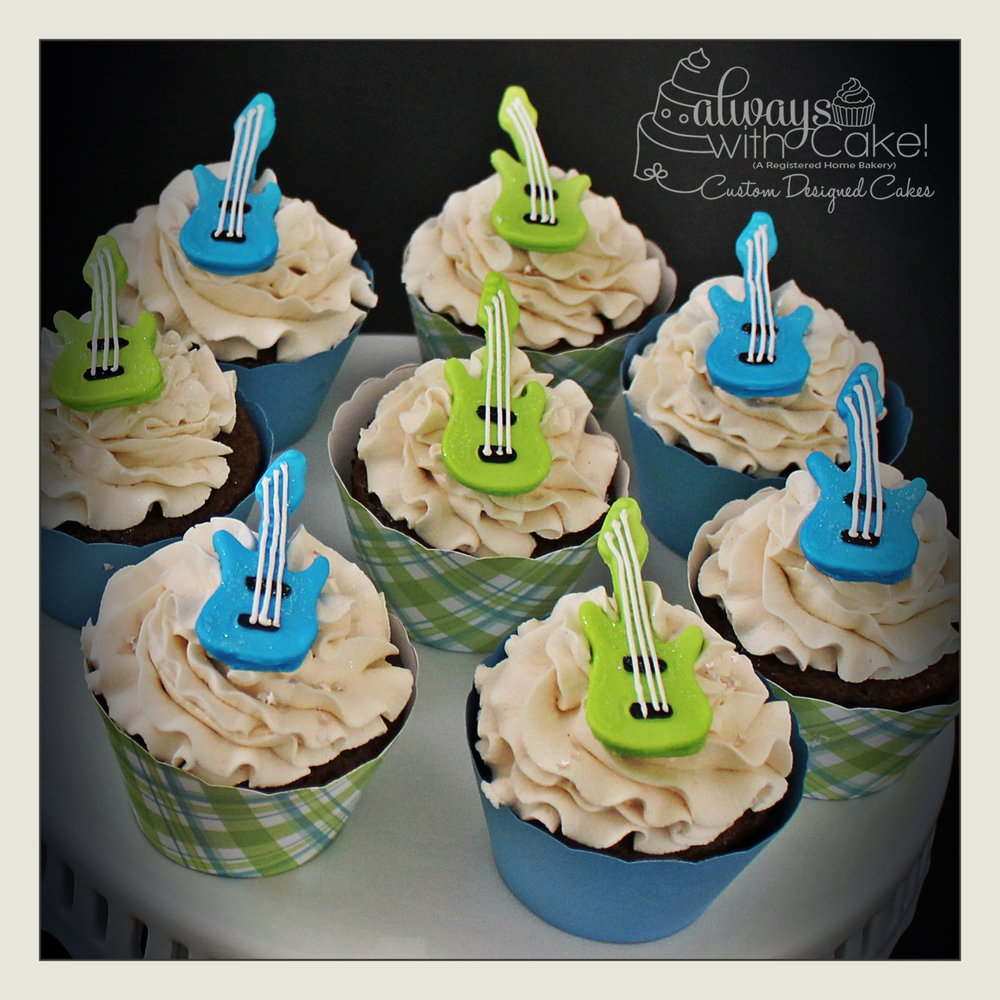 Rocker Guitar Baby Shower Cupcakes
