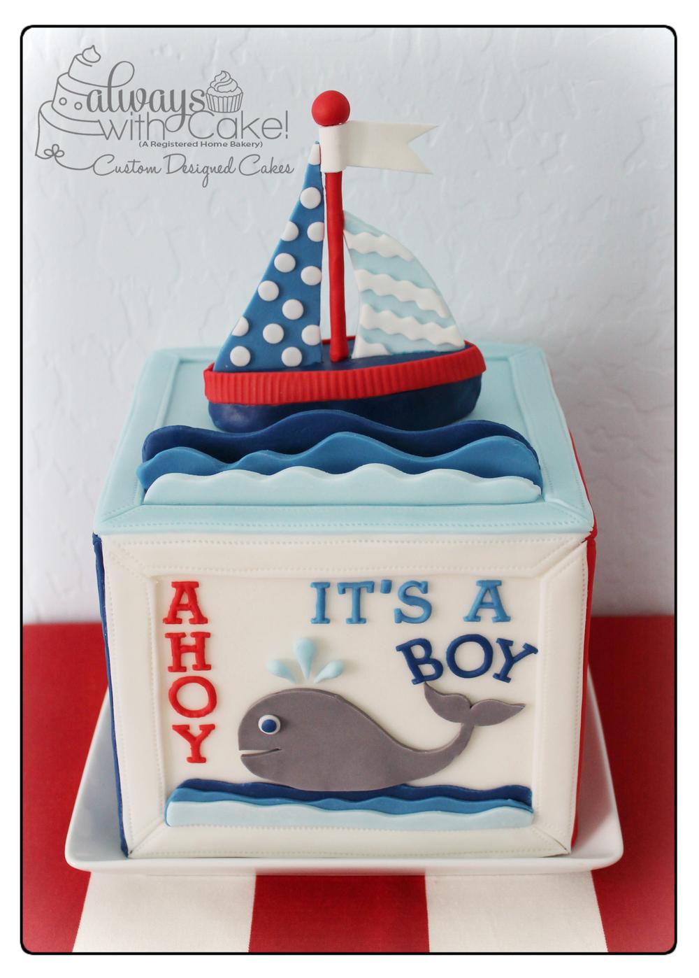 Nautical Block Baby Shower Cake