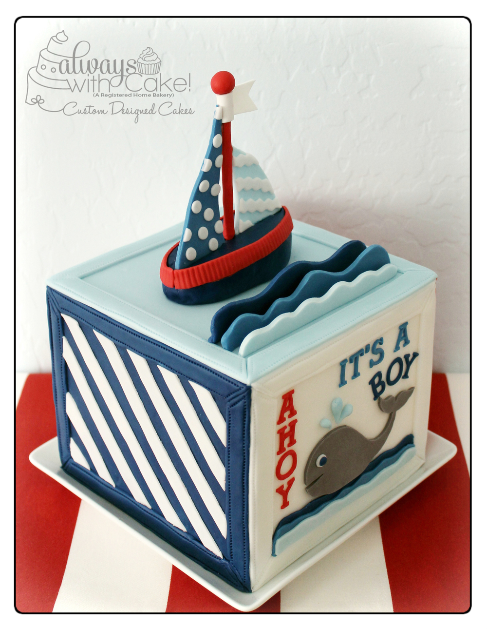 Nautical Block Baby Shower Cake - Side View