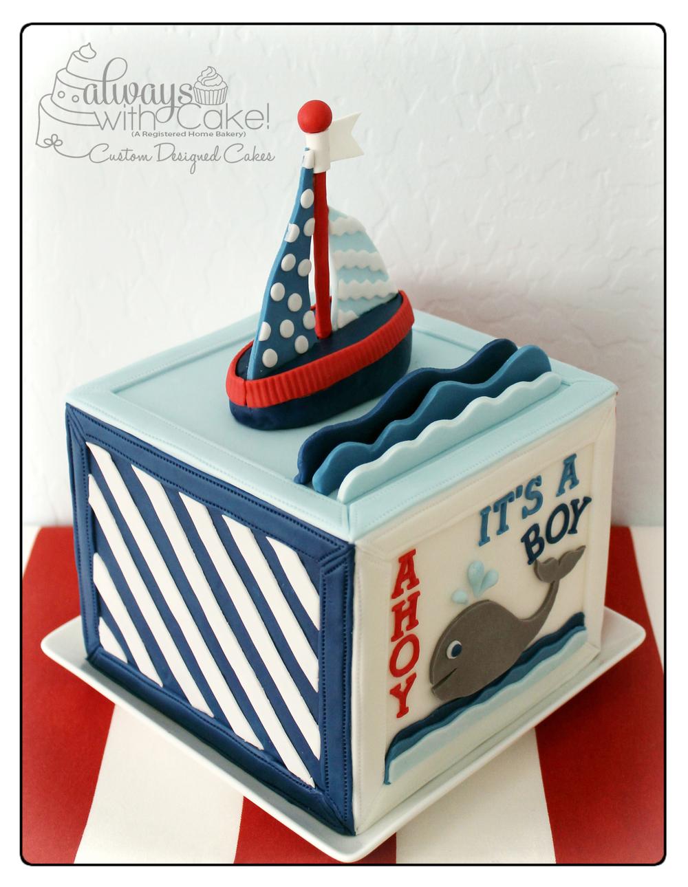 Nautical Block Baby Shower Cake - Side View