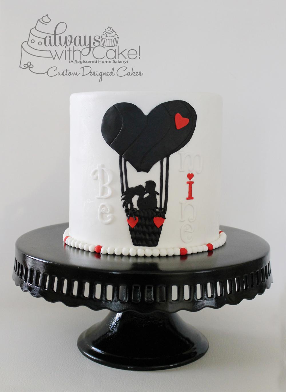 Love Balloon Valentine's Day Cake