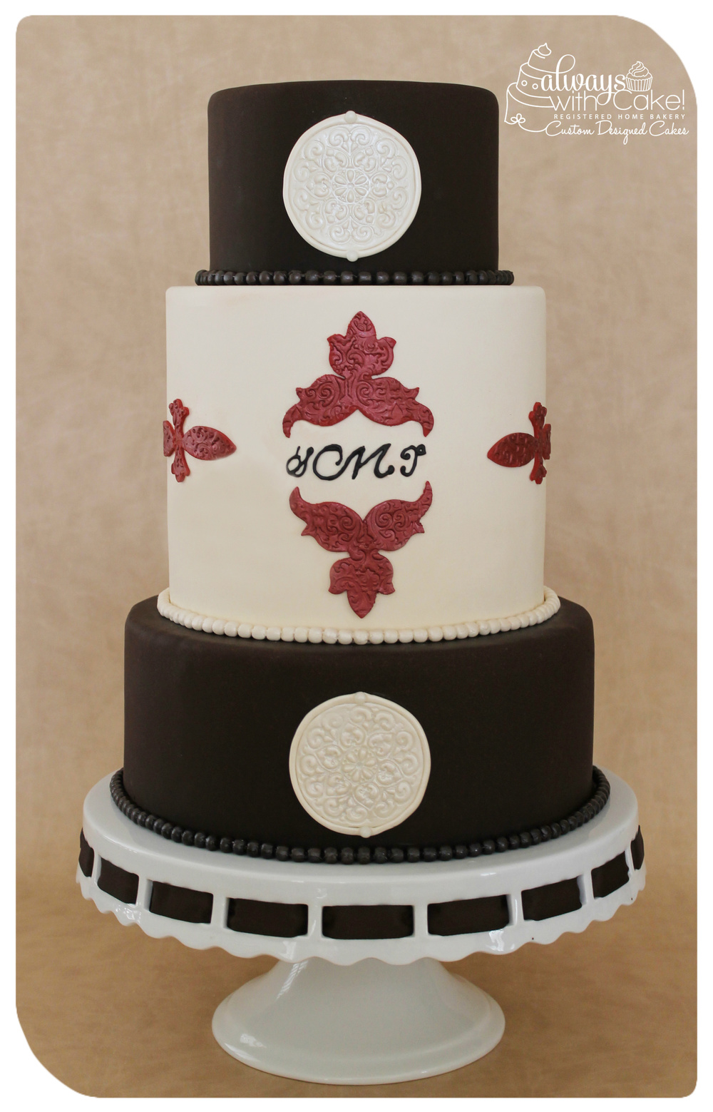 Brown & Ivory Wedding Cake