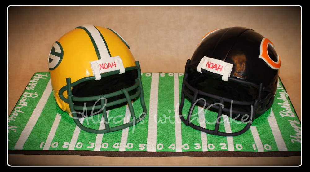 Football Helmets Birthday Cake
