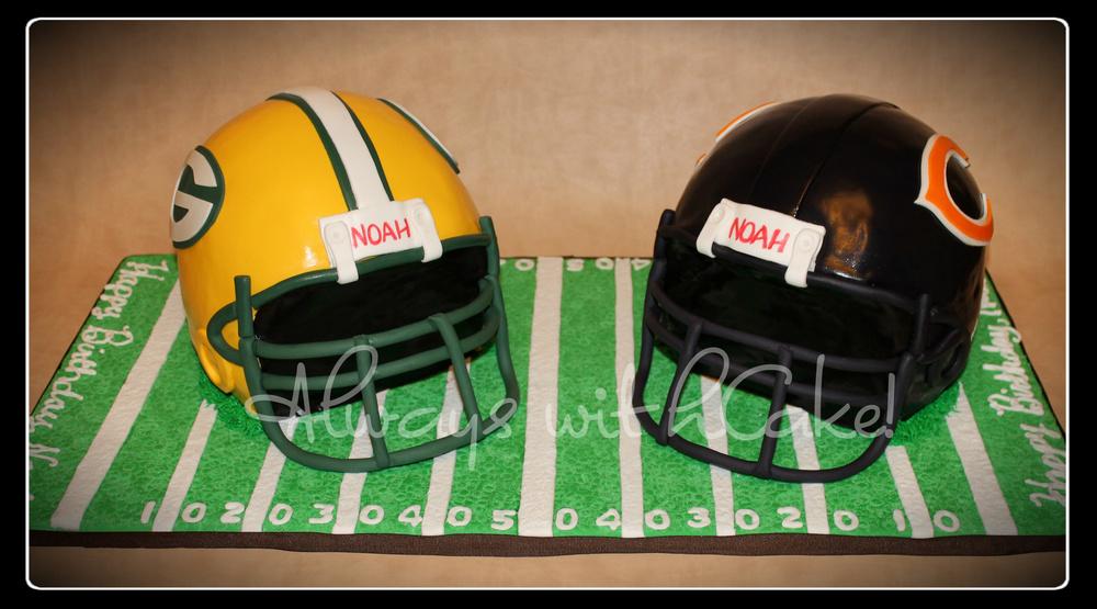 Football Helmets Birthday Cake