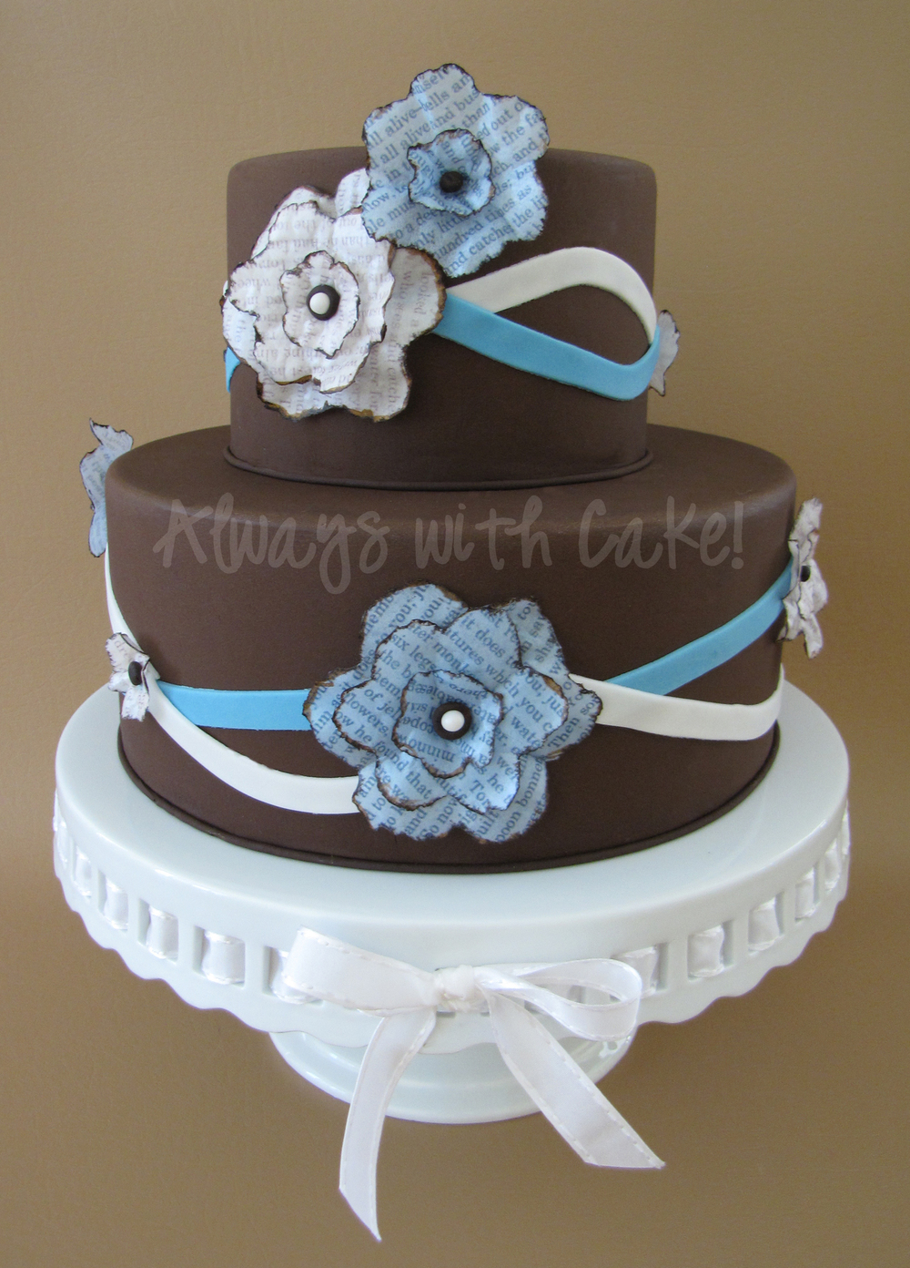 Wafer Paper Flower Inspired Wedding Cake