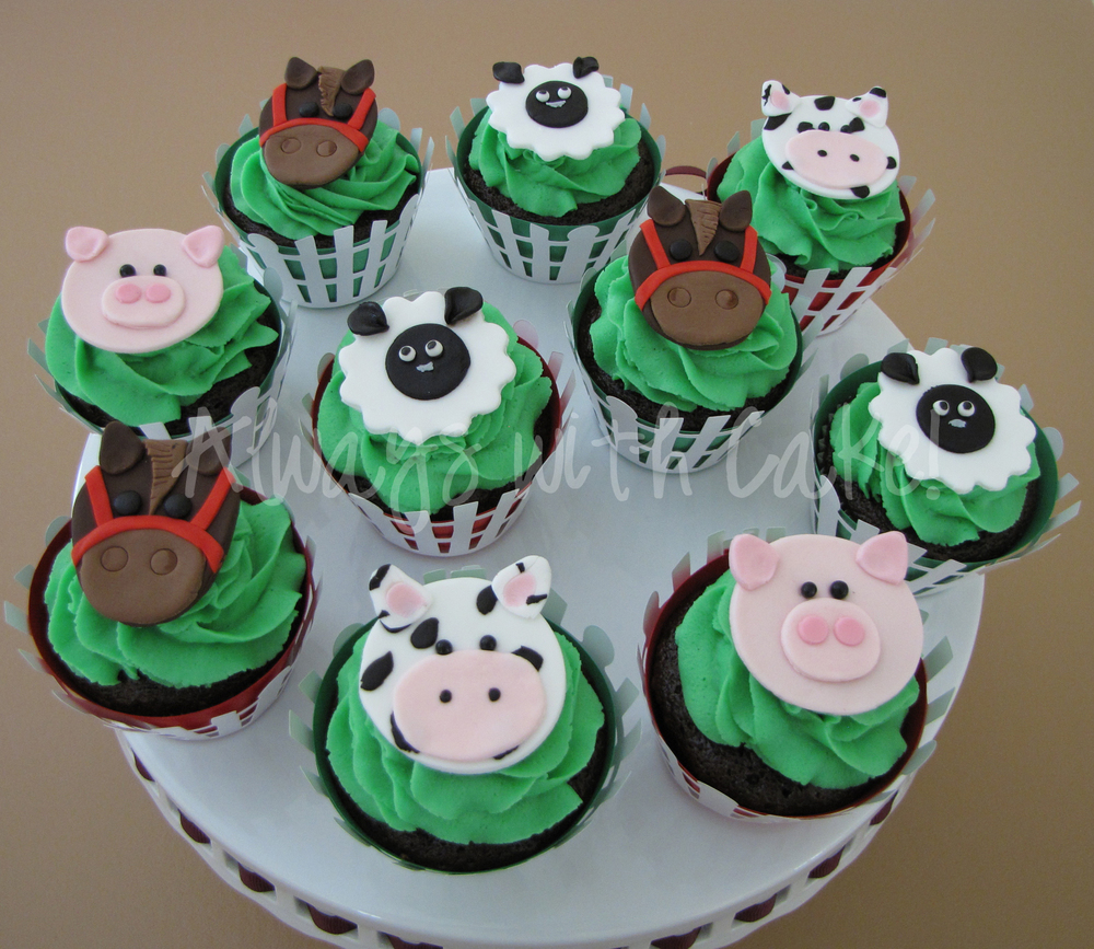 Farm Animals Birthday Cupcakes