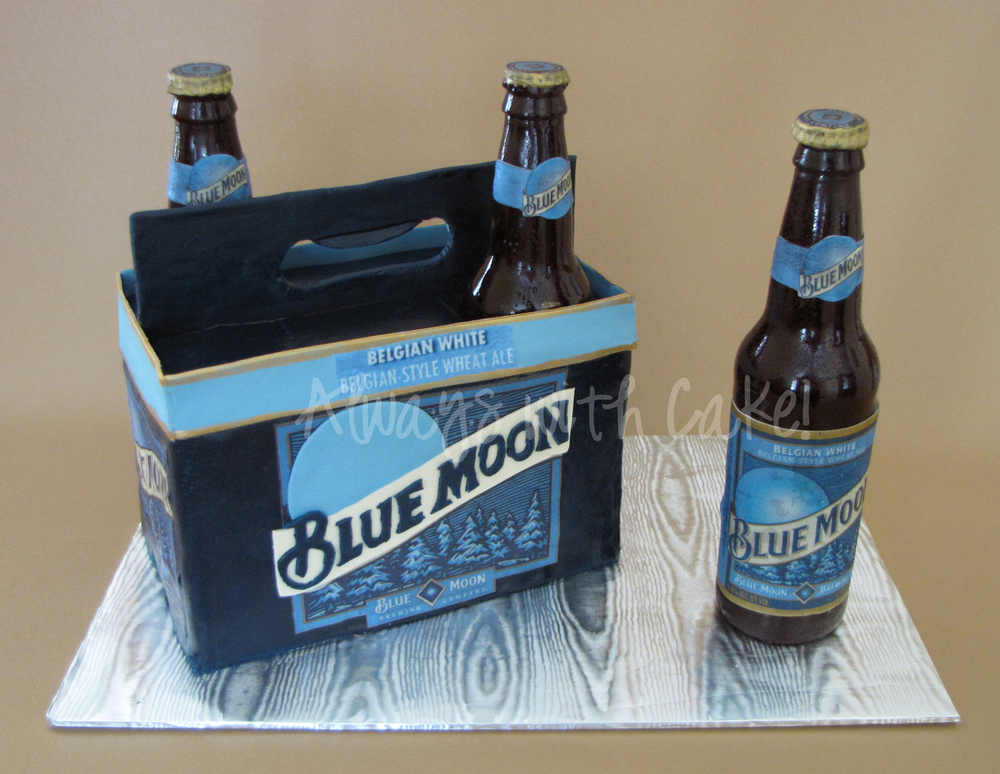 Blue Moon Six-pack Cake (Bottles are edible)