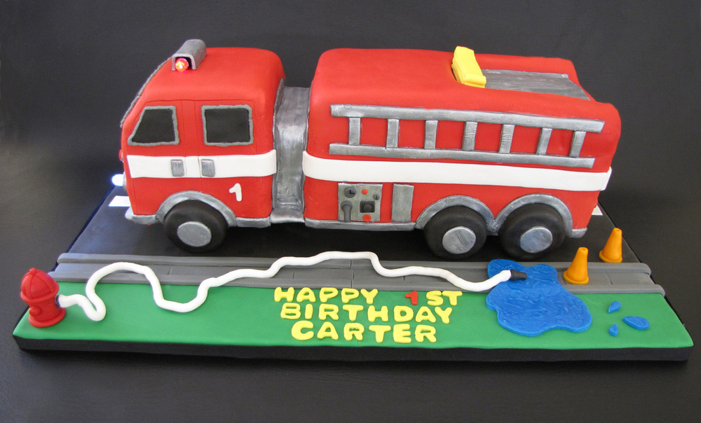 Fire Engine 1st Birthday Cake