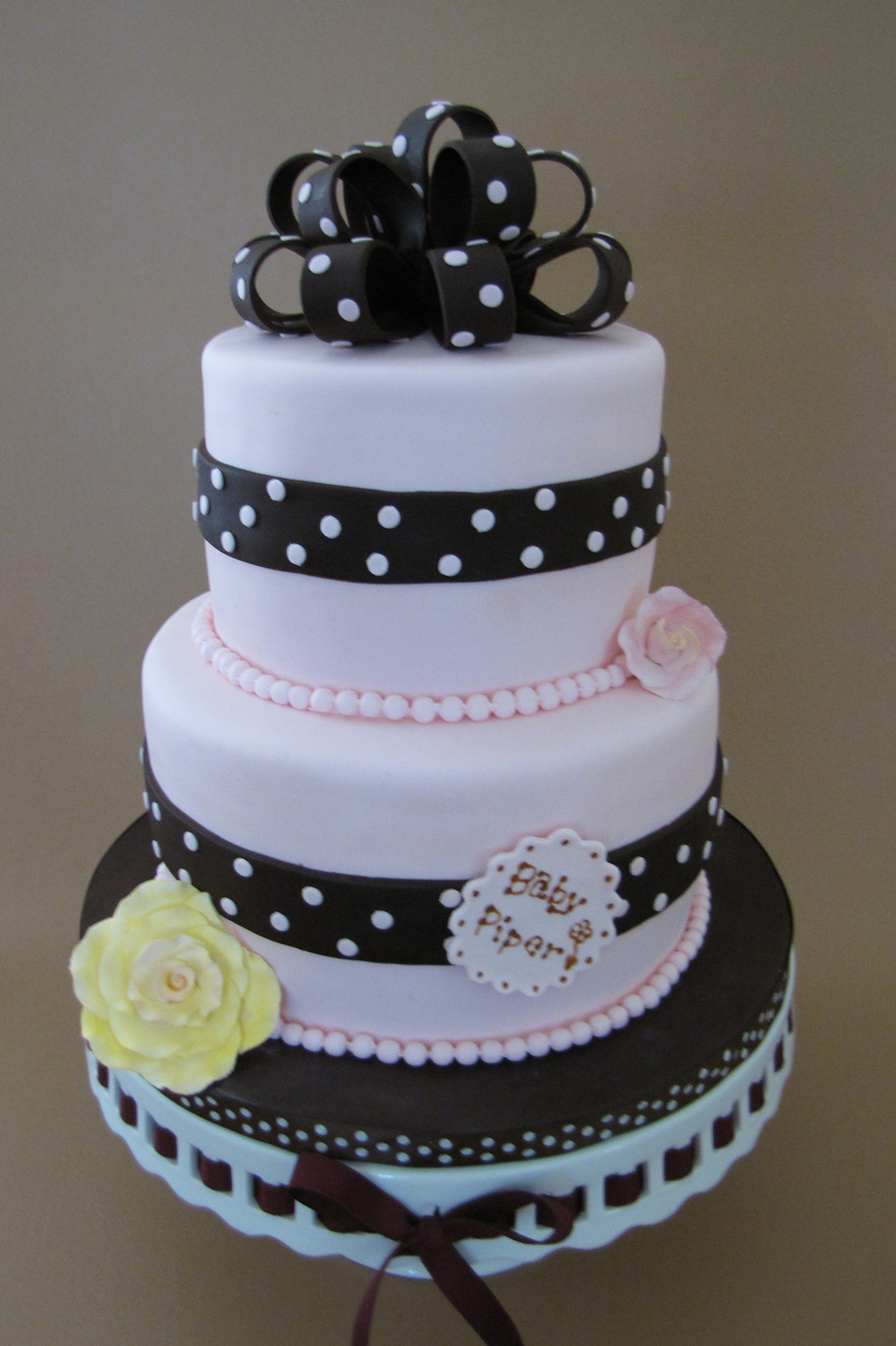 Pink & Dots Baby Shower Cake