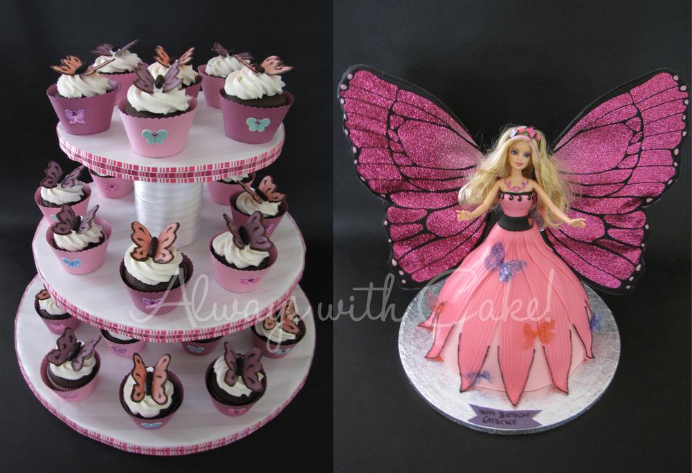 Mariposa Barbie Cake & Cupcakes