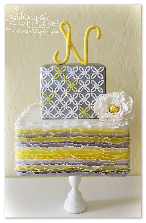 Grey & Yellow Ruffles and Quartrefoil Cake