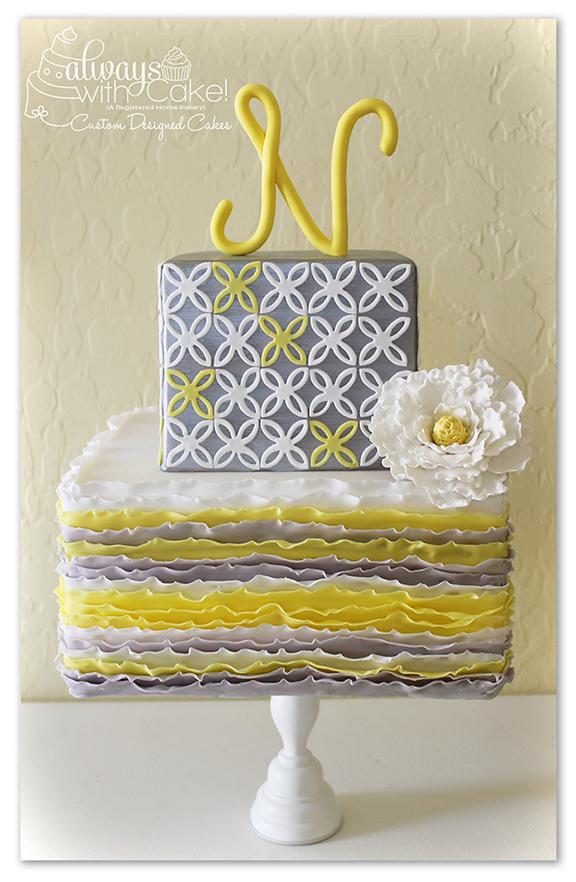 Grey & Yellow Ruffles and Quartrefoil Cake