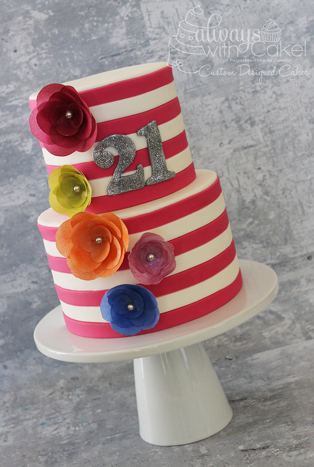 Stripes & Wafer Paper Flower 21st Birthday Cake