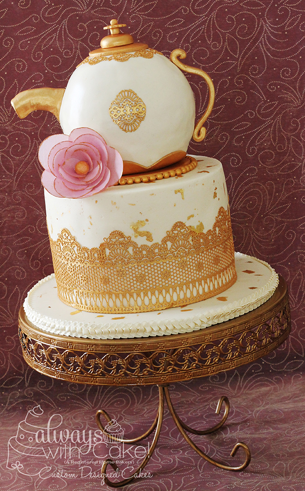 Teapot Birthday Cake with Edible Lace
